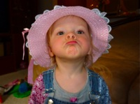 Picture of the author's daughter pouting.